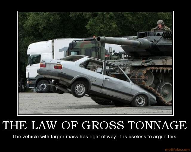 bigger vehicle wins