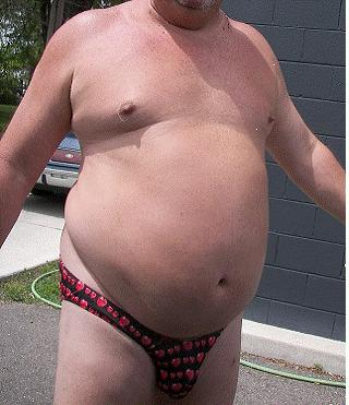 fat man in speedo